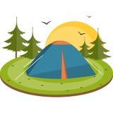 Namiot w łące Płaska wektorowa ilustracja Obraz Royalty Free