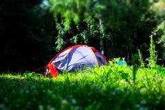 Namiot w lesie Zdjęcia Stock