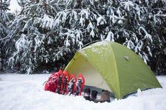 Namiot w zima lesie Obrazy Royalty Free