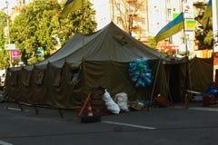 Namiot z flaga Ukraina Obrazy Royalty Free