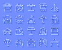 Namiotowego prostego papieru ikon wektoru rżnięty set royalty ilustracja