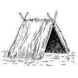 Namiotowej budy nakreślenia kreskówki doodle wektoru czarny i biały ilustracja Obrazy Royalty Free