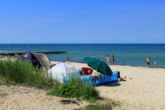 Namioty na banku morze bałtyckie Zdjęcie Royalty Free