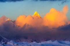 Most beautiful golden snow peak. The Namjagbarwa mountain of Tibet is the highest mountain in Linzhi, China, with an elevation of 7782 meters. It is considered Stock Images