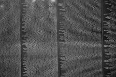 Namn av vietnamkrigetolycksoffer på Royaltyfria Bilder