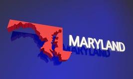 Namn för översikt för Maryland medicine doktor rött statligt stock illustrationer