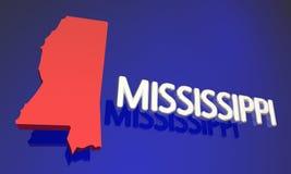 Namn för Mississippi ms Red State Map Fotografering för Bildbyråer