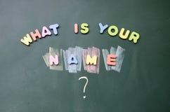namn vad som är din Arkivbilder