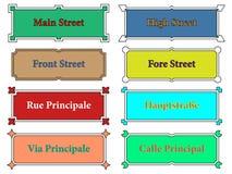 namnet undertecknar gatan Arkivbilder