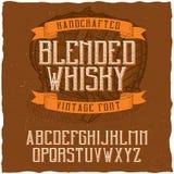 Namngiven blandad whisky för tappningetikett stilsort Arkivfoto