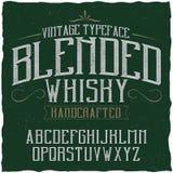 Namngiven blandad whisky för tappningetikett stilsort Arkivfoton