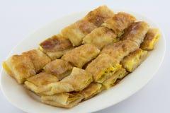Namngiven frasig pannkaka - roti-, fr ied bröd med smör och ägget Arkivfoton