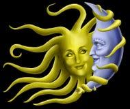Namoradeira de Sun com lua Imagem de Stock