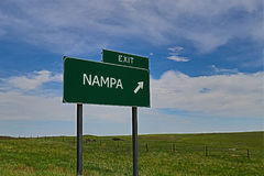 Nampa. US Highway Exit Sign for Nampa royalty free stock photos