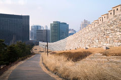 Namsan park z miasto budynkami fotografia stock