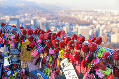 Namsan Tower in Seoul. Seoul, South Korea - NOV 9: As a sign of devotion, couples write their names on locks and clip them to a wall at Namsan Tower in Seoul Stock Images