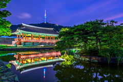 Namsangol Hannok Village and Seoul Tower. Stock Photo
