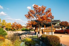 Namsangol Hanok Village, Korean traditional house with autumn maple in Seoul