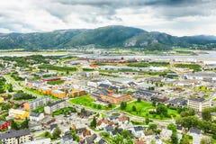 Namsos, Norway. Aerial view of the small norwegian town Namsos Stock Photo