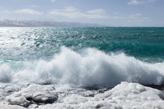 Namtso Lake frozen and wave Stock Photography