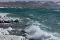 Namtso Lake frozen and wave Stock Photos
