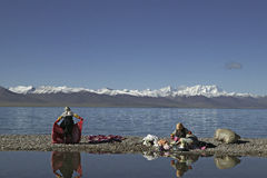 Namtso Lake in Tibet stock images