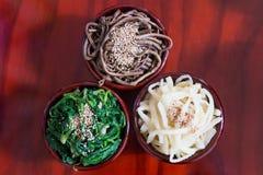 Namul, gekruide Koreaanse kruiden & x28; de wortel van de ballonbloem, spinazie, adelaarsvaren stock afbeeldingen