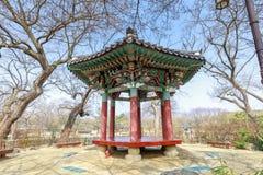Traditional Gwanghalluwon Pavilion scene in spring. Namwon, South Korea - March 25, 2018 : Traditional Gwanghalluwon Pavilion scene in spring Royalty Free Stock Photos