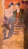 NAN, ТАИЛАНД - 12-ОЕ АПРЕЛЯ: Традиционная тайская стенная роспись на te стоковое фото rf