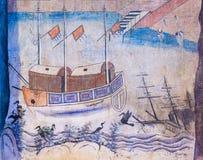 NAN, ТАИЛАНД - 12-ОЕ АПРЕЛЯ: Традиционная тайская стенная роспись th стоковая фотография rf