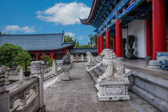 Nan Li Jiang ancient city of Wood House Chamber hospital. Wood House Lijiang Tusi yamen commonly known, is located in the ancient city of Lijiang Lion Rock Royalty Free Stock Photos