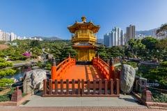 Nan Lian trädgård, kinesisk klassisk trädgård, guld- paviljong av perfektion i Nan Lian Garden, Hong Kong arkivfoto
