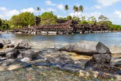 Nan Madol prehistoric ruined stone city. Ancient walls on coral islands and canals in lagoon of Pohnpei, Micronesia, Oceania. stock images