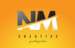 Nanômetro N M Letter Modern Logo Design com fundo amarelo e Swoo Foto de Stock
