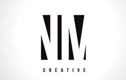 Nanômetro N M White Letter Logo Design com quadrado preto Imagem de Stock Royalty Free