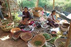 Nan Pan village market Myanmar. Burmese vendors are selling food at the Nan Pan village market on the Lake Inle, Shan State, Myanmar Stock Photography