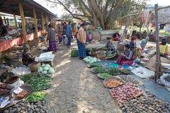 Nan Pan village market Myanmar. Burmese vendors are selling food at the Nan Pan village market on the Lake Inle, Shan State, Myanmar Stock Images