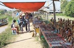 Nan Pan village market Myanmar. Tourists are walking in the  Nan Pan village market on the Lake Inle, Shan State, Myanmar Stock Photo