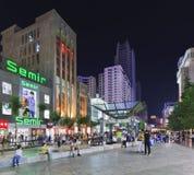 Nan Ping Jie shopping area at night, Kunming, China Stock Image