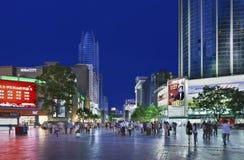 Nan Ping Jie shopping area at night, Kunming, China Royalty Free Stock Images