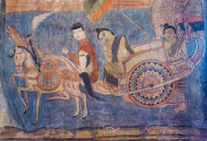 NAN, TAILANDIA - 12 APRILE: Pittura murala tailandese tradizionale del Th Immagini Stock Libere da Diritti