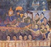 NAN, TAILANDIA - 12 DE ABRIL: Pintura mural tailandesa tradicional del th Imagen de archivo