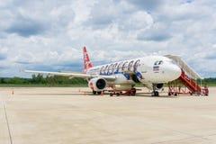 NAN, TAILANDIA - 10 giugno: Air Asia all'aeroporto internazionale o di NAN Fotografia Stock Libera da Diritti