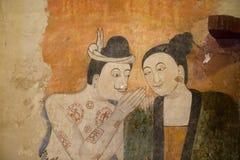 NAN, 29 THAILAND-JULI: Het oude muurschildering schilderen in Wat Phumin Nan  Royalty-vrije Stock Afbeelding