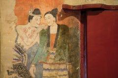 NAN, 29 THAILAND-JULI: Het oude muurschildering schilderen in Wat Phumin Nan  Stock Foto's