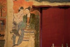 NAN, 29 THAILAND-JULI: Het oude muurschildering schilderen in Wat Phumin Nan  Stock Foto