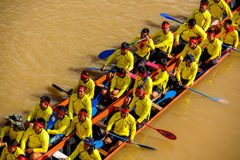 Thai traditional long boat racing Royalty Free Stock Photography