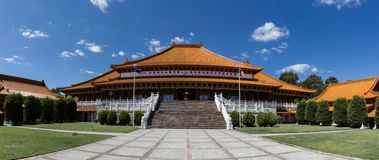 Panorama of Nan Tien Temple Buddha religion in Australia. Nan Tien Temple Buddha religion in Australia, New South Wales royalty free stock photo