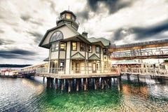 NANAIMO, ΚΑΝΑΔΑΣ - 13 ΑΥΓΟΎΣΤΟΥ 2017: Φω'τα του περιπάτου πόλεων alon Στοκ φωτογραφίες με δικαίωμα ελεύθερης χρήσης