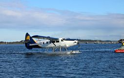 Float plane coming in to dock at Marina in Nanaimo stock photos
